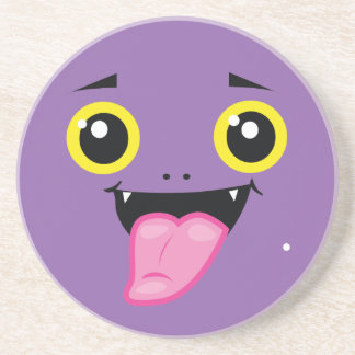 Funny spooky cheeky face drink coaster