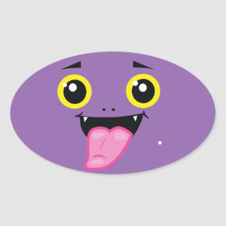 Funny spooky cheeky face oval sticker