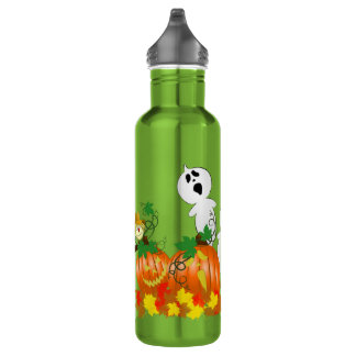 Funny, Spooky Halloween Ghosts 24oz Water Bottle