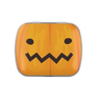 Funny Spooky Jack O'Lantern Face Happy Halloween Candy Tin
