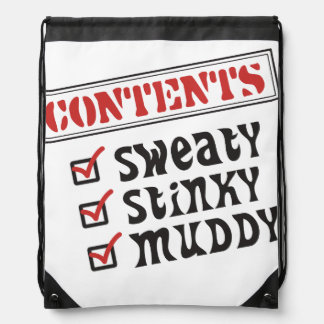 Funny Sports - © Contents: Sweaty, Stinky, Muddy Drawstring Backpack