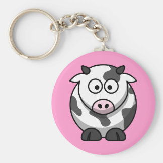 Funny Spotted Cartoon Cow with Pink Nose Key Chain
