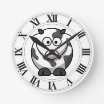 Funny Spotted Cow Black White Roman Numerals Round Clock