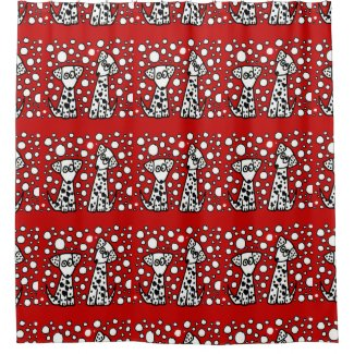 Funny Spotted Dogs with Heart Shaped Spots Art Shower Curtain