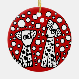 Funny Spotted Dogs with Hearts Double-Sided Ceramic Round Christmas Ornament