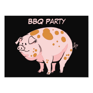 Funny Spotted Pink Pig BBQ Cookout Party Custom 5.5x7.5 Paper Invitation Card