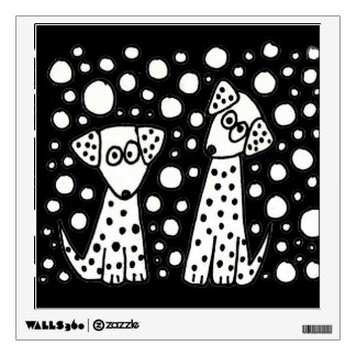 Funny Spotted Puppy Dogs Abstract Art Wall Skins