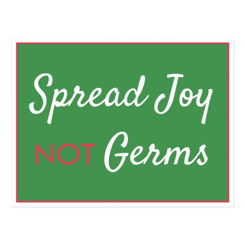 Funny Spread Joy Not Germs Christmas 2020 Green Postcard