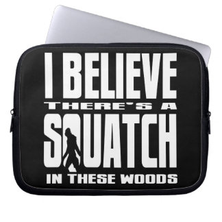 Funny Squatch in These Woods! (Black) Laptop Computer Sleeve