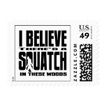 Funny Squatch in These Woods! (Black) Postage Stamps