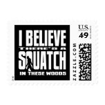 Funny Squatch in These Woods! (Black) Postage Stamp