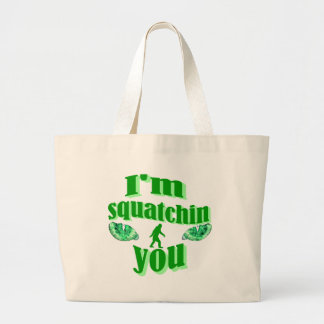 Funny squatching large tote bag