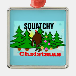 Funny Squatchy Christmas Bigfoot Tacky Christmas Metal Ornament