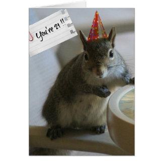 Funny Squirrel 21st Birthday Card