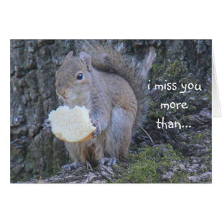 Funny Squirrel card; Miss you more than Nutella Card