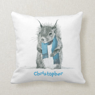 Funny Squirrel Kids Personalized Name Pillow