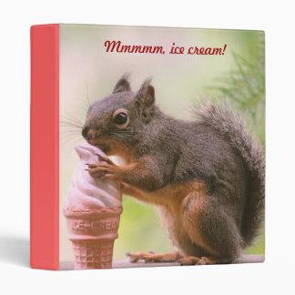 Funny Squirrel Licking Ice Cream Cone Vinyl Binder
