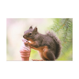 Funny Squirrel Licking Ice Cream Cone Gallery Wrapped Canvas