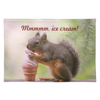 Funny Squirrel Licking Ice Cream Cone Cloth Placemat