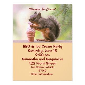 Funny Squirrel Licking Ice Cream Cone Invitations
