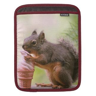 Funny Squirrel Licking Ice Cream Cone iPad Sleeve