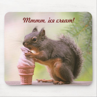 Funny Squirrel Licking Ice Cream Cone Mouse Pad