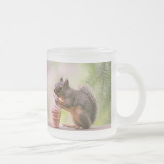Funny Squirrel Licking Ice Cream Cone 10 Oz Frosted Glass Coffee Mug