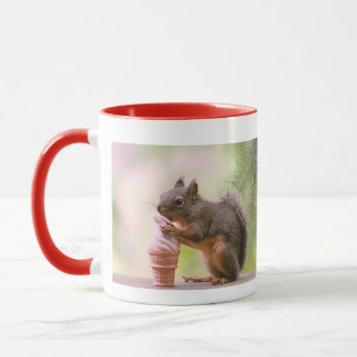 Funny Squirrel Licking Ice Cream Cone Mug