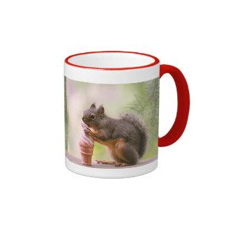 Funny Squirrel Licking Ice Cream Cone Ringer Coffee Mug
