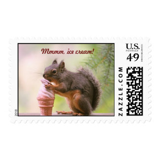 Funny Squirrel Licking Ice Cream Cone Postage Stamps