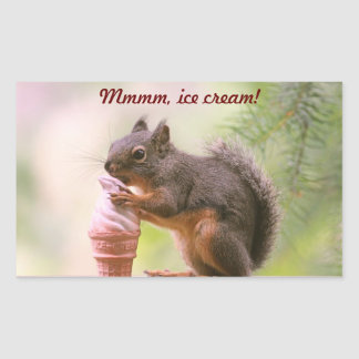 Funny Squirrel Licking Ice Cream Cone Rectangle Stickers