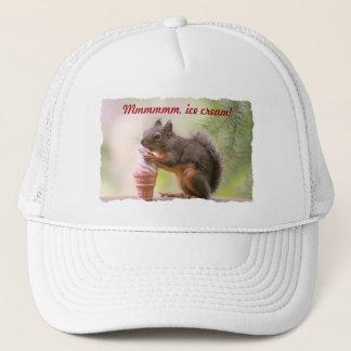 Funny Squirrel Licking Ice Cream Cone Trucker Hat