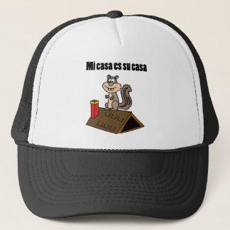 Funny Squirrel on Roof Cartoon Trucker Hat