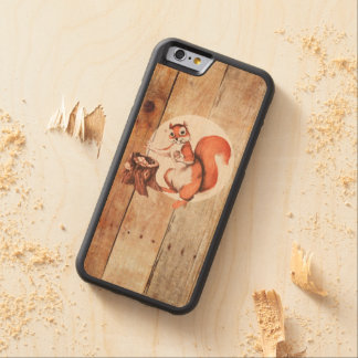 Funny squirrel on wood carved® maple iPhone 6 bumper case