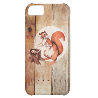 Funny squirrel on wood cover for iPhone 5C