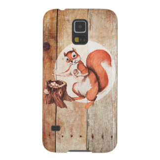 Funny squirrel on wood galaxy s5 case