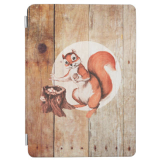 Funny squirrel on wood iPad air cover