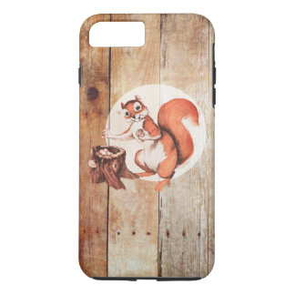 Funny squirrel on wood iPhone 7 plus case