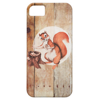 Funny squirrel on wood iPhone SE/5/5s case