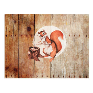 Funny squirrel on wood postcard