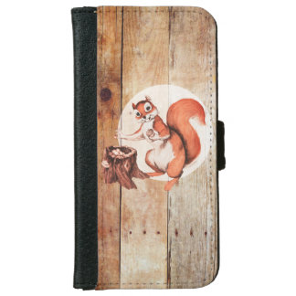Funny squirrel on wood wallet phone case for iPhone 6/6s