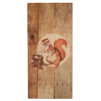 Funny squirrel on wood wood flash drive