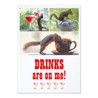 Funny Squirrel Photo Collage Customizable 5x7 Paper Invitation Card