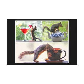 Funny Squirrel Picture Collage Gallery Wrap Canvas