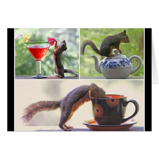 Funny Squirrel Picture Collage Card