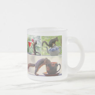 Funny Squirrel Picture Collage Frosted Glass Coffee Mug