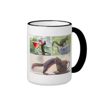 Funny Squirrel Picture Collage Ringer Coffee Mug