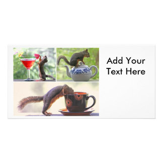 Funny Squirrel Picture Collage Custom Photo Card