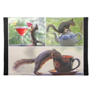 Funny Squirrel Picture Collage Placemat