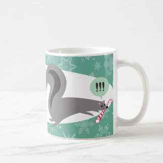 Funny squirrel stealing candy cane Christmas Mugs
